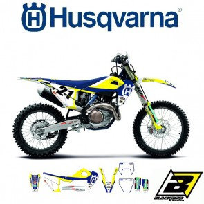 BLACKBIRD REPLICA TEAM STICKERSET + ZADELOVERTREK - HUSQVARNA >14 - TROPHY 2019